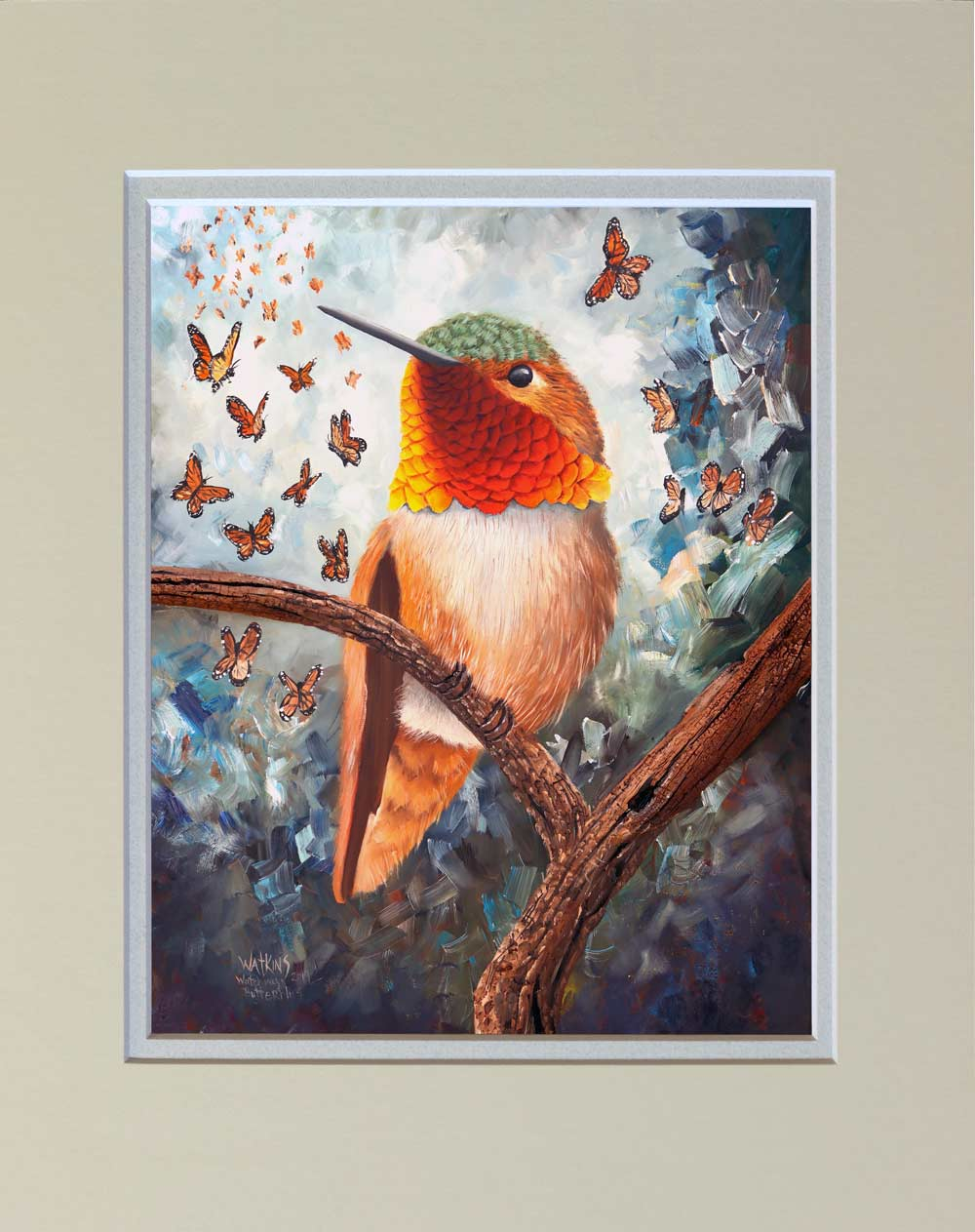"""Watching Hummingbirds"" Matted Print"
