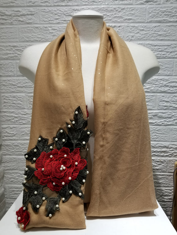Rose Applique with Pearls- Caramel