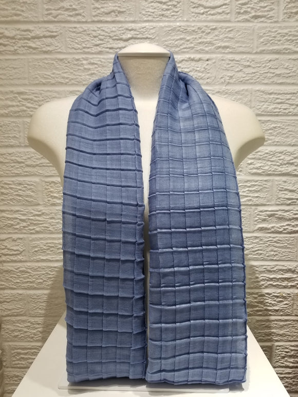 Cross Pleated Cotton- Azure Blue