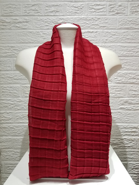 Cross Pleated Cotton- Red