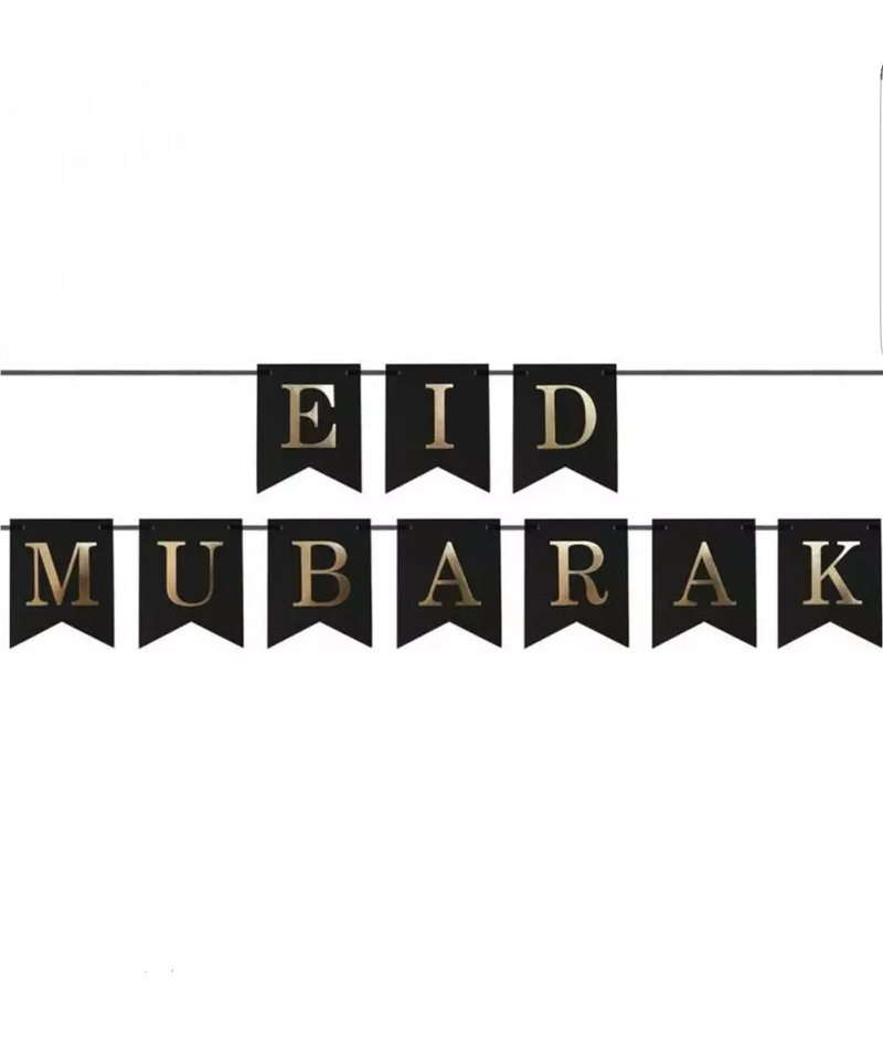 Eid Mubrarak Bunting - Black & Gold