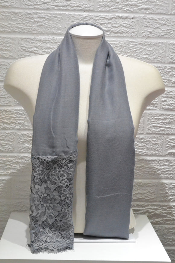 Cotton Floral Lace - Grey