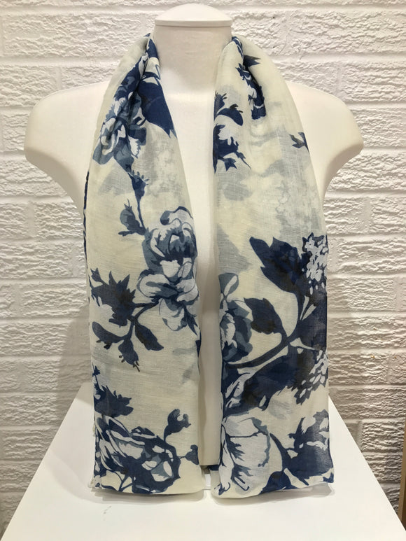 Printed Cotton- Jasmine- Navy Blue