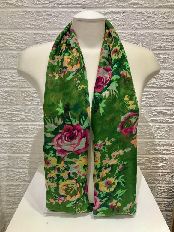 Printed Cotton- Rose- Green