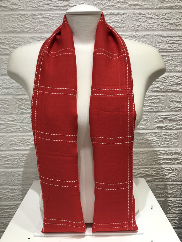 Square Stitched Hijab- Red