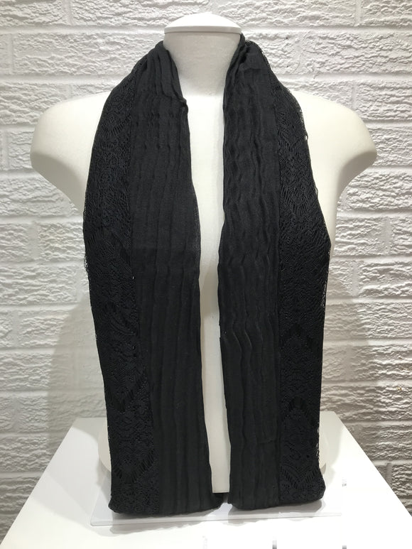Pleated Cotton with Lace- Black