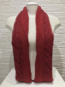 Pleated Lace with Cotton- Red