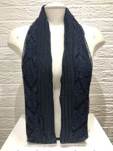 Pleated Cotton with Lace- Navy Blue