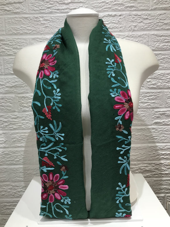 Floral Embroidered Cotton- Forest Green