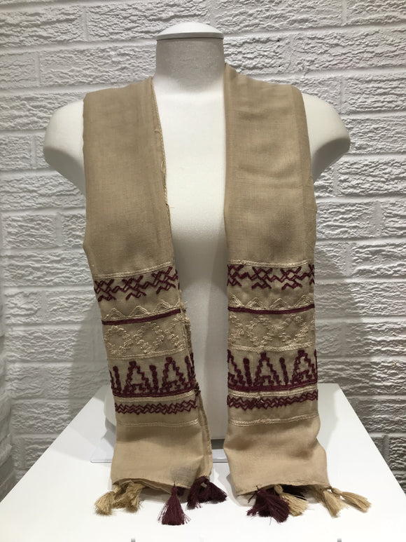Embroidered Cotton- Maya- Beige