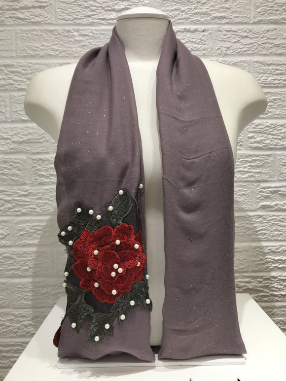 Rose Applique with Pearls - Mauve