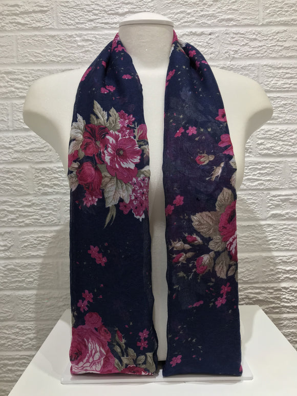 Printed Cotton- Dahlia- Navy Blue/ Pink
