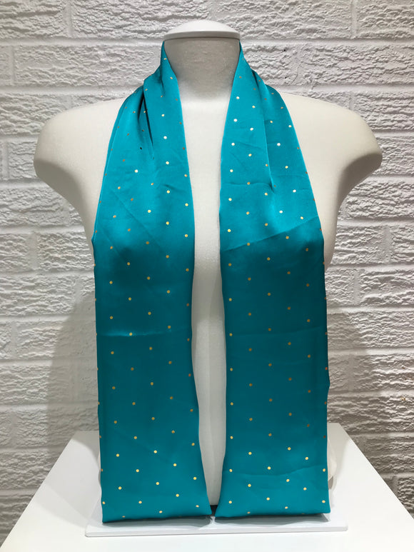 Satin- Gold Polka Dot- Sea Green