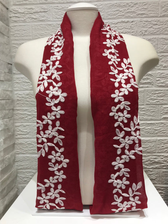 Embroidered Cotton- Blossom- Red