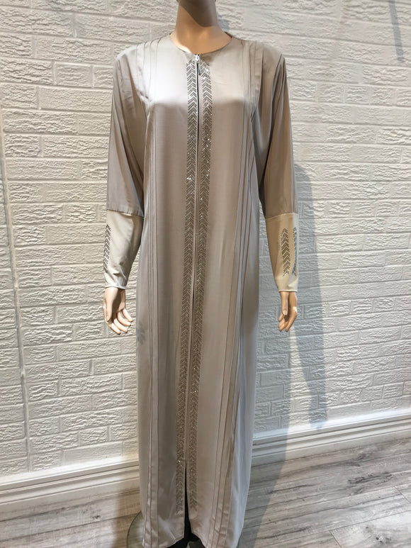 Turkish Abaya- Pleated- Beige