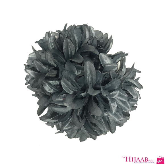 Volumizing Floral Clip-  Grey