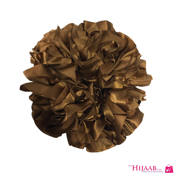 Volumizing Satin Scrunchie- Caramel