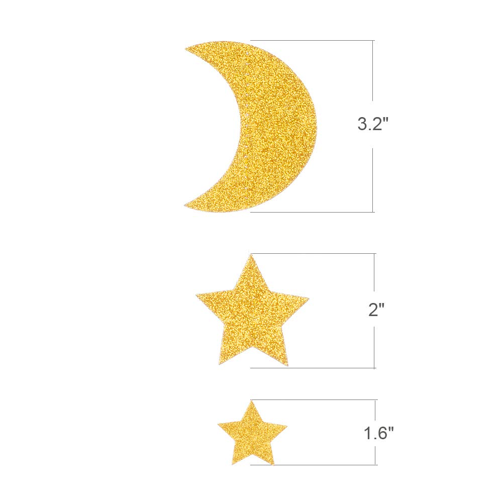 Glitter Moon & Star Garland- Gold
