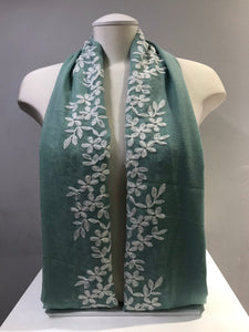 Embroidered Cotton - Blossom - Mint Green