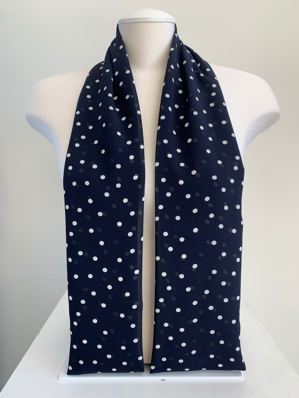 Polka Dot Chiffon - Navy Blue