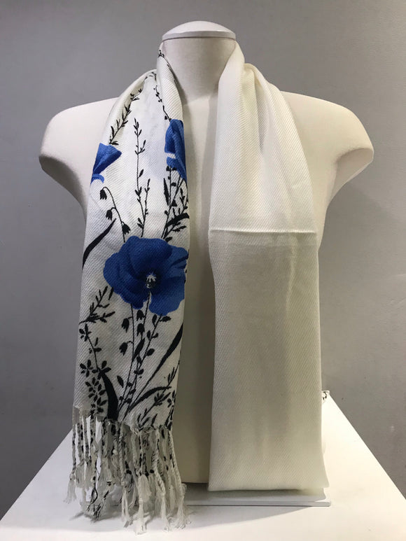 Printed Pashmina - White Snow - Blue