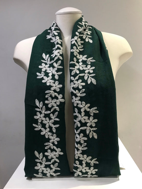 Embroidered Cotton - Blossom - Green