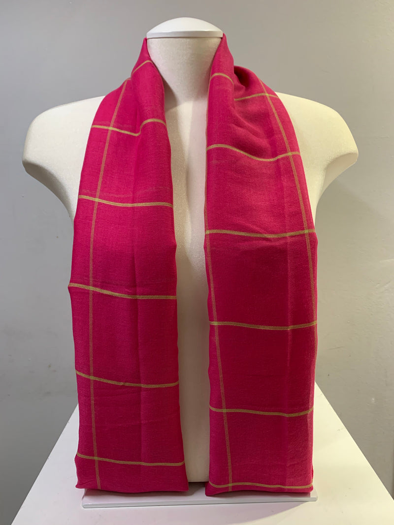 Printed Cotton - Square Grid - Hot Pink