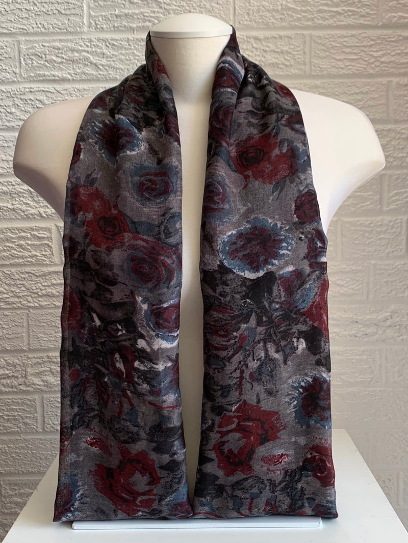 Printed Cotton - Midnight Rose - Black