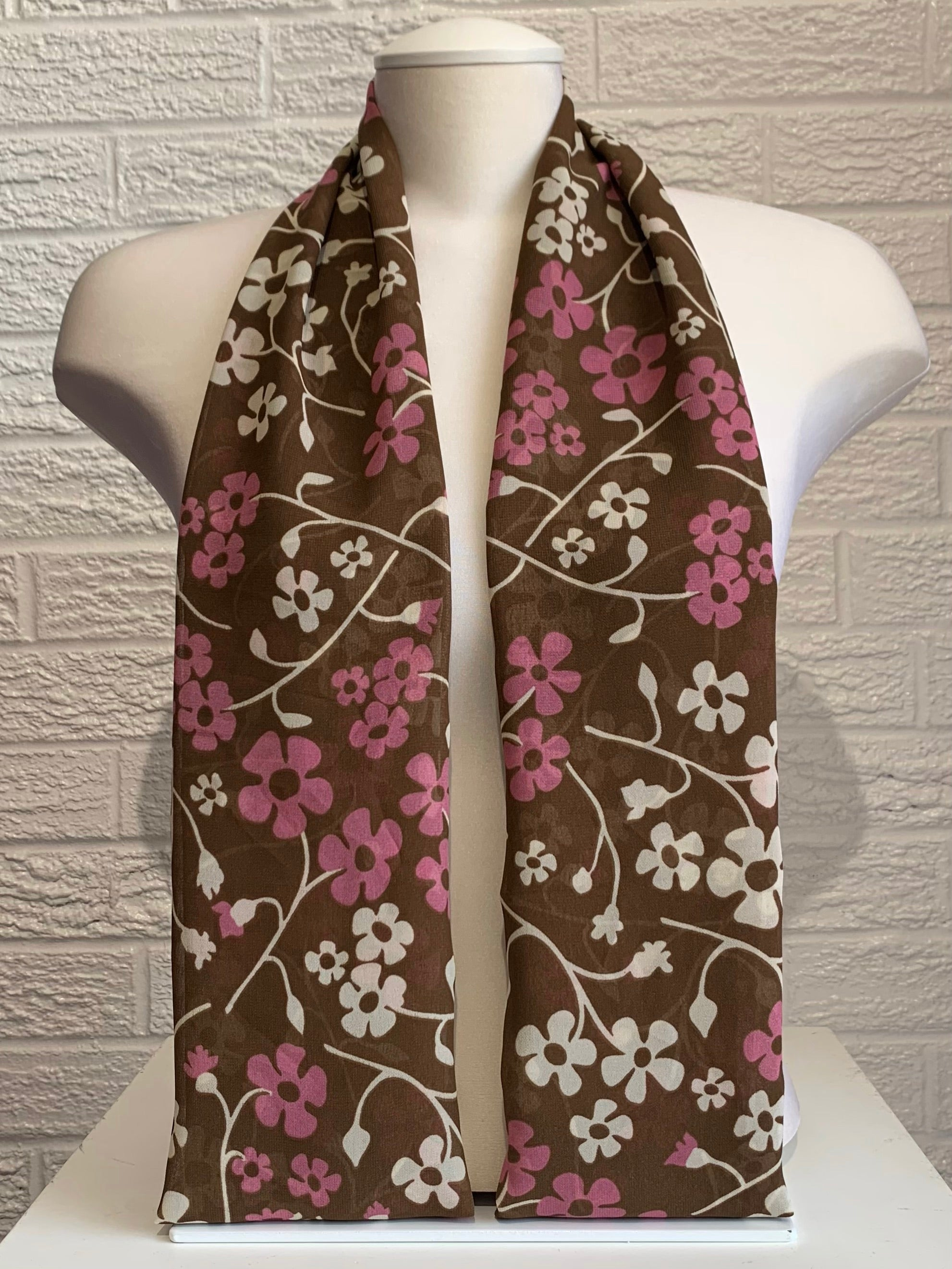 Printed Chiffon - Brown Floral