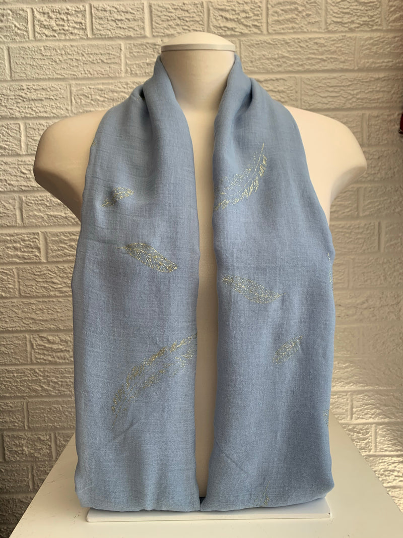 Printed Cotton - Feather - Blue