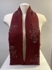 Printed Cotton - Silver Rose - Maroon