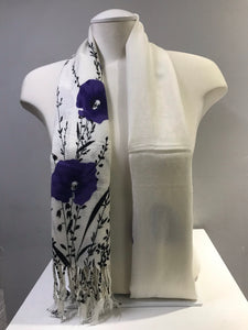 Printed Pashmina - White Snow - Purple
