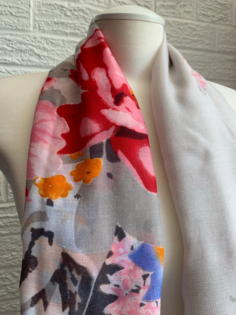 Printed Cotton - Fresh Spring - Red & Grey