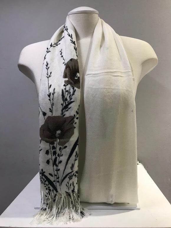 Printed Pashmina - White Snow - Brown