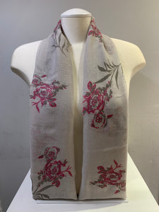 Printed Cotton - Silver Rose - Grey