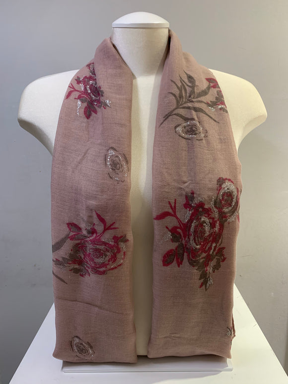 Printed Cotton - Silver Rose - Mauve