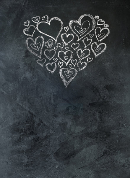 Chalkboard Heart White Backdrop