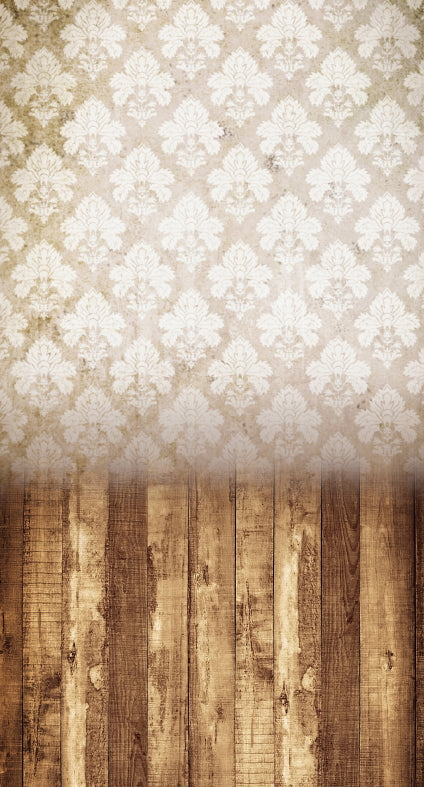 Damask Distressed White Backdrop •  Double Plus