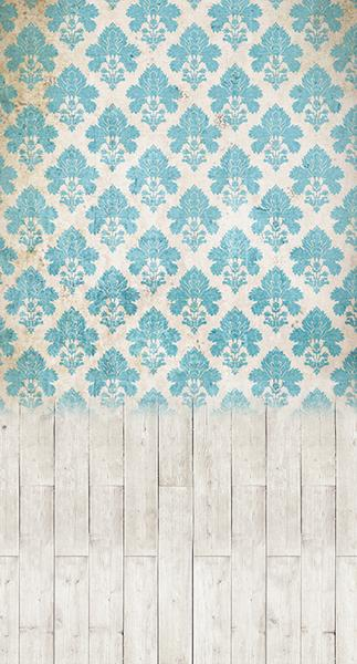 Damask Distressed Blue •  Double