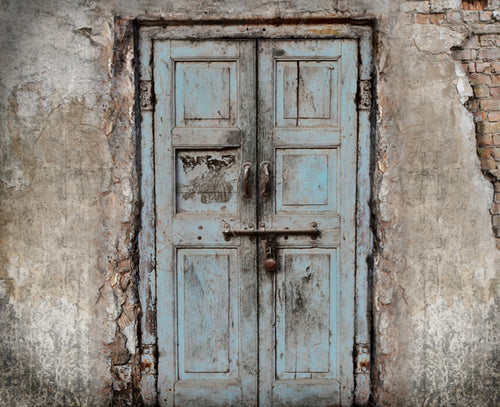 RTS • Wooden Door Blue Backdrop • Full Room