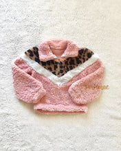 TAYLOR SHERPA PINK LEOPARD QUART-ZIP PULLOVER | CHILD