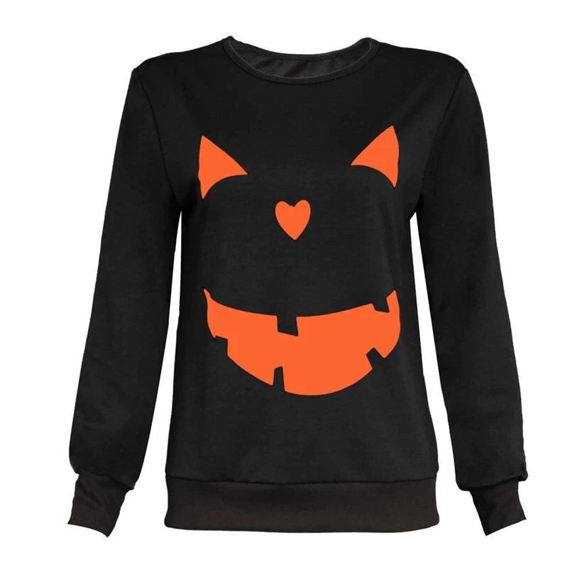 TAYTUM BLACK PUMPKIN FACE PULLOVER | WOMEN