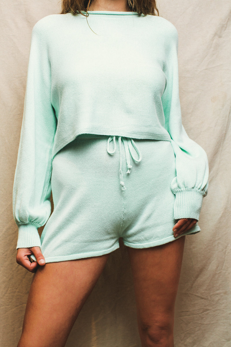 Look Good In Lounge Knit Set // Knit Short // Mint Green