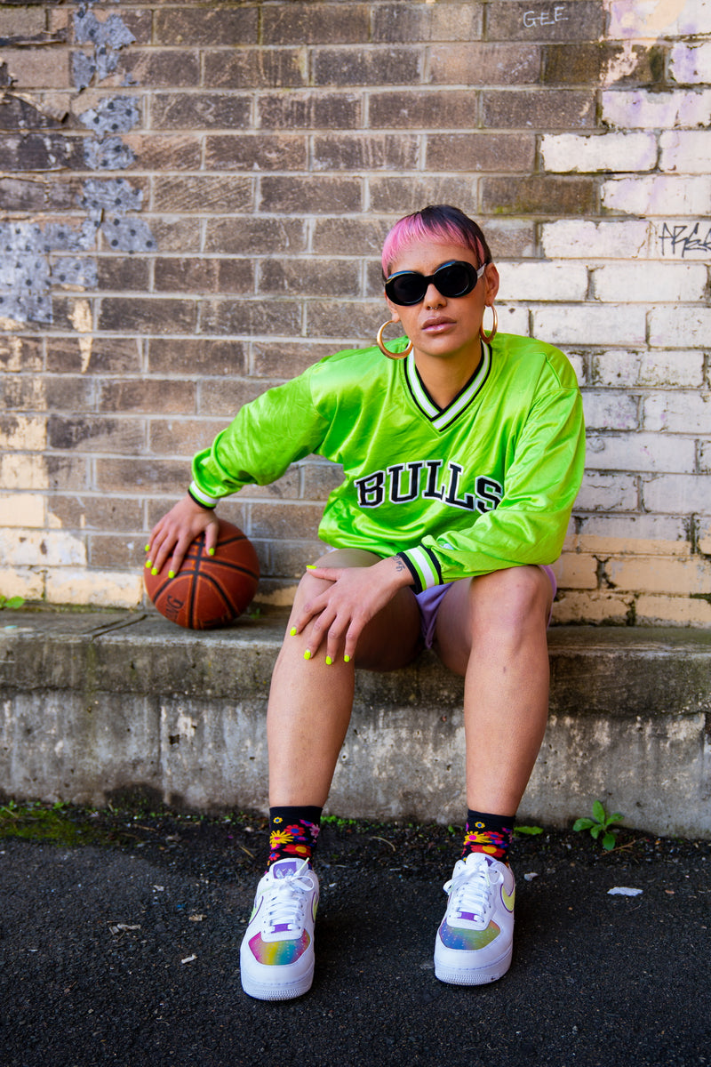 Bulls Sports Jersey // Vintage // Lime Green