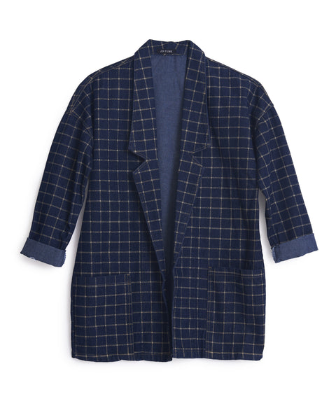 N-Blue Checked Jeans Jacket