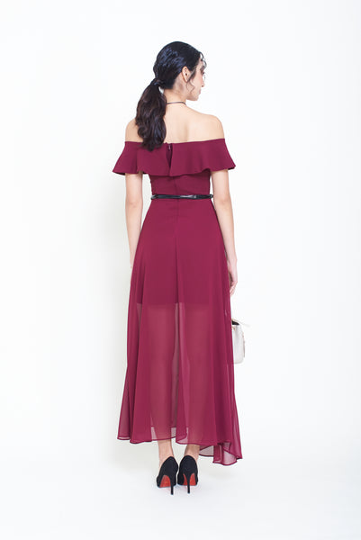 V off shoulder long dress