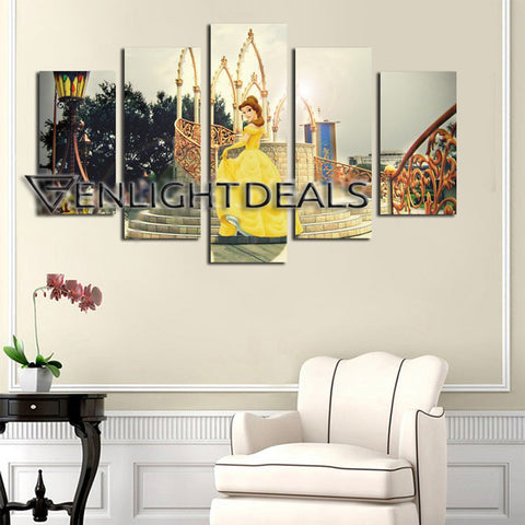 5 Panels Beauty And The Beast Art Painting - UNFRAMED ONLY VARIANT