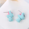 Image of Handmade Clay Blue Hippo Stud Earrings