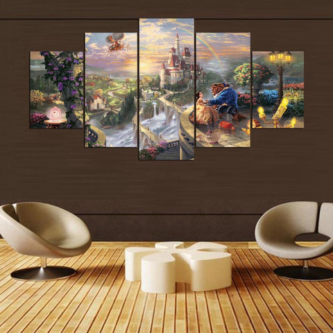 5 Panels Beauty And The Beast Art Painting