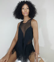 model front view sitting, Nicole Spruill, One Strut Models don't do it video black fringe romper, Nik Spruill brand, Leikeli47